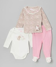 Take a look at this Brown Leopard Kitty Cardigan Set by Baby Headquarters on #zulily today!
