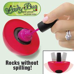 LADY BUG SPILL PROOF NAIL POLISH HOLDER. love this  Ummmm yes please and thank you.