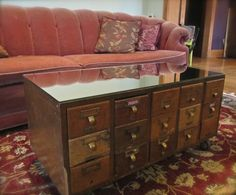 Coffee table from an antique library card catalog