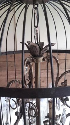 Araña Jaula De Hierro Y Bronce Y Caireles. Frances, Colgante - $ 7.980,00 en Mercado Libre