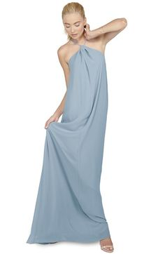 Main Image - Ceremony by Joanna August 'Casey' Twist Neck Chiffon A-Line Gown