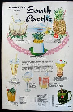 1967 cocktail menu, inside page spread cocktail menu from South Pacific - Hallandale, FL