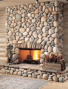 Modern home decorating with river stone. Home Decor 15 Amazing Ideas Adding River Rocks To Your Home Design - PAGUPONKU River Rock Fireplaces, Rustic Fireplaces, Home Fireplace, Modern Fireplace, Fireplace Design, Stone Fireplaces, Mosaic Fireplace, Fireplace Ideas, Brick And Stone