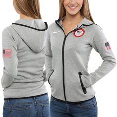 61a0771cd847 Nike USA Winter Olympics Ladies Tech Fleece Full Zip Hooded Sweatshirt - Ash