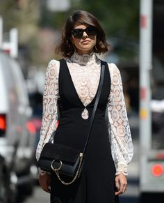 Chloé Faye bag and lace Victorian-inspired blouse