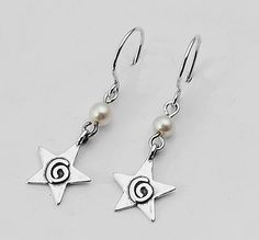 Unique Silver Earrings With 4mm Round Beads Pearl White Stone