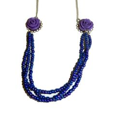 A personal favorite from my Etsy shop https://www.etsy.com/listing/245444288/purple-and-silver-beaded-floral-necklace