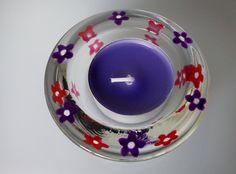 Purple and Pink Flower Tealight Holder £4.50