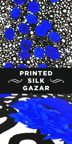 Abstract Floral Printed 100% Silk Gazar in Black, White, and Blue