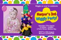 Personalised Wiggles Dorothy THE Dinosaur Tinkerbell Party Birthday Invitations Wiggles Birthday, Wiggles Party, The Wiggles, 2nd Birthday Parties, Birthday Fun, Birthday Ideas, Birthday Greeting Cards, Birthday Greetings, Kendall Birthday