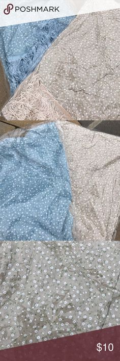 Scarves! Blue and Cream Colored Floral Print! Brand New Scarves still in packaging! Cream Colored and Light Blue Colored Floral Print! Tassel trimmed at end! 2 for $10!!!!!! Brand new in packaging! Super cute, light and airy! Perfect to dress up a summer night! Accessories Scarves & Wraps