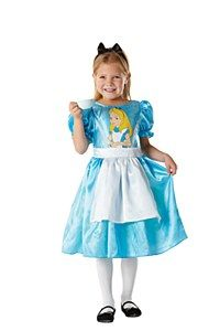 Disney Alice #Costume Let your little one tumble down the rabbit hole or run off to the tea party in this magical Alice In Wonderland Costume and steal hearts as she goes. This pretty Costume is a party dress in itself. She may never want to take it off.  Disney Alice Costume Contains: - An Alice adorable blue satin efffect short sleeved dress. The bodice of the dress is detailed with an Alice character print. Also attached to the dress is a white apron.  Size Available: Large - Age 7 - 8…