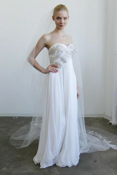 Marchesa Strapless Embellished Wedding Dress