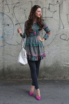 25 Smart Ways To Wear a Dress Over Trousers - Wass Sell - 25 Smart Ways To Wear a Dress Over Trousers – Wass Sell Short dresses with legging and pink heels Short Kurti Designs, Kurta Designs Women, Dress Over Jeans, Dresses With Leggings, Look Fashion, Indian Fashion, Stylish Dresses, Fashion Dresses, Estilo Jeans