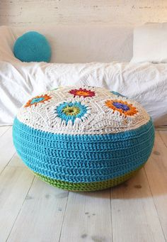 Floor Cushion Crochet hexagons big por lacasadecoto en Etsy, €80.00