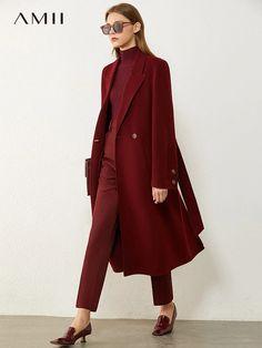 Amii Minimalism Winter Coat Women Fashion Solid 100%wool Belt Calf length Double sided Woolen Coat Women's Jacket 12040654|Wool & Blends| - AliExpress