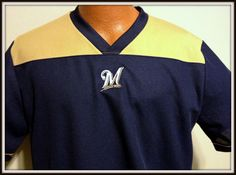 MILWAUKEE BREWERS MLB LICENSED EMBROIDERED V-NECK JERSEY ADULT LARGE FREE SHIP #MLB #MilwaukeeBrewers