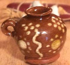 Duncan White - Hand-Thrown Primitive Pottery Slipware Bottle