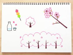 KANAのかんたんイラストライフ Girls Night Crafts, Craft Night, Doodle Quotes, Doodle Art, Cute Little Drawings, Bujo Doodles, Basic Drawing, Cherry Blossom Tree, Hobonichi