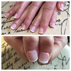 Becky gray hair and nails Shellac French manicure
