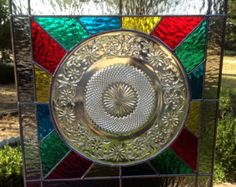 Contemporary Stained Glass Panel - Colorful Crystal Cut Plate