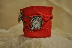 Women Handmade Red Leather Wrist Bracelet With by hocuspocusstudio, $30.00