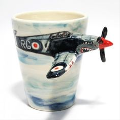 Airplane Spitfire Mug Original Handmade Ceramic Mug Gifts 0006 . Handmade Ceramic, Ceramic Mugs, Decor Crafts, Coffee Cups, Photo Galleries, Clay, Pottery, Hand Painted, Ceramics