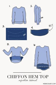 Merricks Art: CHIFFON HEM REFASHION TUTORIAL, Variations: Vary the length of the Chiffon,try using circle ruffles for very soft, drapey ruffles that won't add bulk at the hipline Sewing Hacks, Sewing Tutorials, Sewing Crafts, Sewing Projects, Sewing Patterns, Sewing Tips, Techniques Couture, Sewing Techniques, Diy Clothing