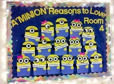 Clever Back to School Bulletin Board Ideas - Crafty Morning (minions) Welcome Bulletin Boards, Back To School Bulletin Boards, Preschool Bulletin Boards, Bulletin Board Display, Minion Bulletin Board, Bullentin Boards, Classroom Displays, Classroom Themes, Classroom Organization