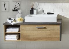 Traum fürs Bad: Waschbeckenunterschrank Eiche Riviera Honig/ Beton Woody 93-01137 Holz Modern