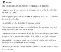 Demons and monsters plans thwarted by people with disabilities who are just living their normal life