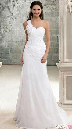 One strap Mermaid wedding dress with tiny embellishments