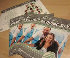 Custom designed Sports Themed Wedding Programs using your photos.  #footballwedding  #stwdotcom