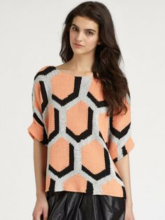 Diane Von Furstenberg Cici Hexagon Sweate
