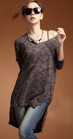 Popular Dolman Sleeve Irregular Side Split Women Loose Sweater from BuyTrends.com