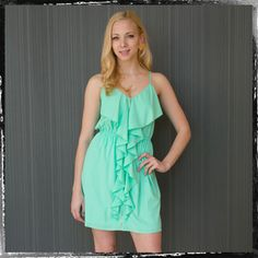 Jordana's Seafoam Green Ruffle Dress  $46.99 http://www.thealchemyshop.com/collections/dresses/products/jordana-s-neon-green-ruffle-dress