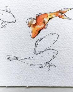 Koi Fish Drawing, Fish Drawings, Cute Drawings, Koi Art, Fish Art, Arte Sketchbook, Japanese Art, Lovers Art, Painting & Drawing