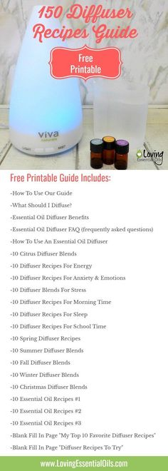 {FREE PRINTABLE GUIDE} 150 Essential Oil Diffuser Recipes You Will Love, visit now for your free guide. So many diffuser blends you will have access to instantly!