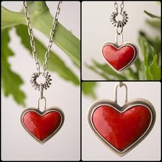 Silver Enameled Heart Necklace from Angela Gerhard Jewelry Baubles And Beads, Enamel Jewelry, Heart Jewelry, Silver Enamel, Making Ideas, Jewelry Crafts, Diy And Crafts, Jewelery, Enamels