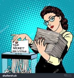 Paper Shredder Top Secret Document Destroys The Secretary Pop Art Retro Style. The Policy Of The Government Security Services Document Storage Security Data. Businesswoman Politician Ilustración vectorial en stock 341581994 : Shutterstock