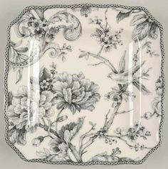 222 Fifth Adelaide Gray Floral Porcelain Square Salad Plates Set of 4 NIB #222Fifth
