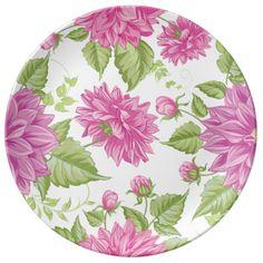 Pink dahlia flowers, floral pattern porcelain plate