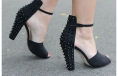 Black Spiked Mary Janes