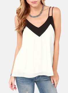 Colour-block Spaghetti Strap Chiffon Cami Top -SheIn