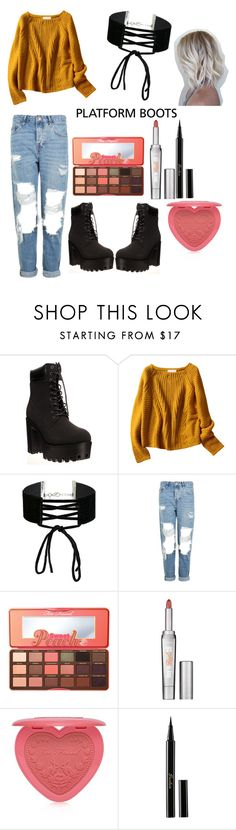 """platforms boots 💕"" by sara-melgar on Polyvore featuring Miss Selfridge, Topshop, Too Faced Cosmetics, Benefit and Guerlain"