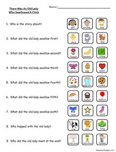 """With St.Patrick's Day and Easter so close together I tried to squeeze in some activities for both holidays this month. Here is one lesson I did for Easter. Print out thisfree handout of """"There Was An Old Lady Who Swallowed a Chick""""book pictures, sequencing pictures, visual questions, and written questions to use with your students. …"""