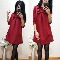 2017夏dressファッションシンプルな緩い女性のドレス固体oネックハーフスリーブ弓の結び目かわいい女性vestidoプラスサイズ