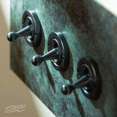3 Gang 2 Way Dolly Switch in Verdigris from Forbes and Lomax - stylish yet vintage-style wall switchplate with 3 dolly switches in a verdigris finish, available at www.sparksdirect.co.uk