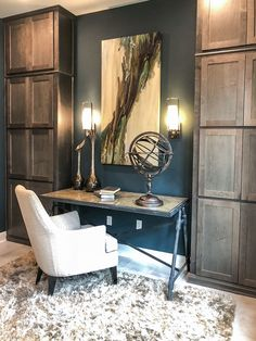 Home office with tall cabinets. Cabinet doors by TaylorCraft Cabinet Door Company in Alder with OE5, IE2, FP1/4″ with custom gray stain by cabinetmaker.