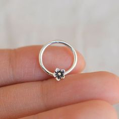 septum ring,nose ring,sterling silver nose ring,septum clicker,flower nose ring